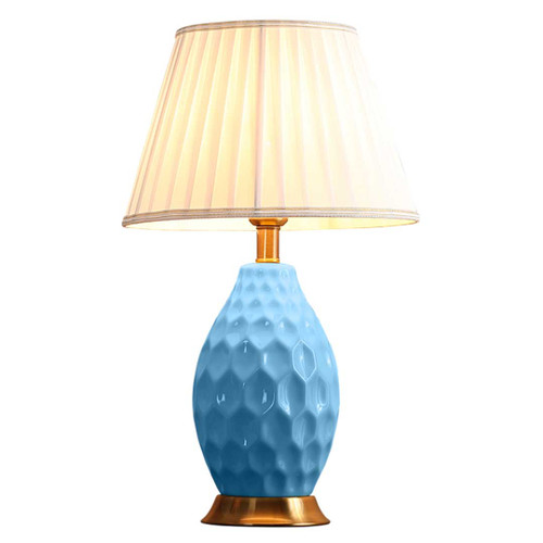 Lily Oval Textured Blue Ceramic Table Lamp