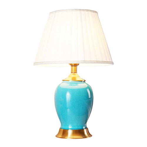 Quinn Oval Blue Ceramic Table Lamp
