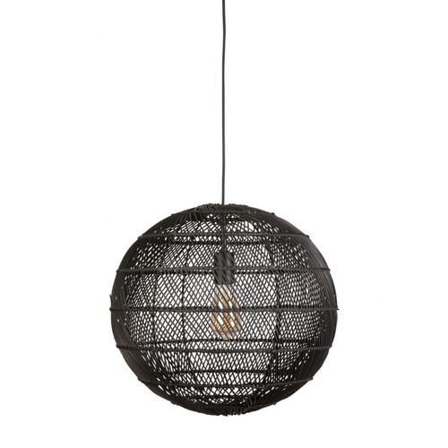 Hamden Round Ball Black Bamboo Pendant Light
