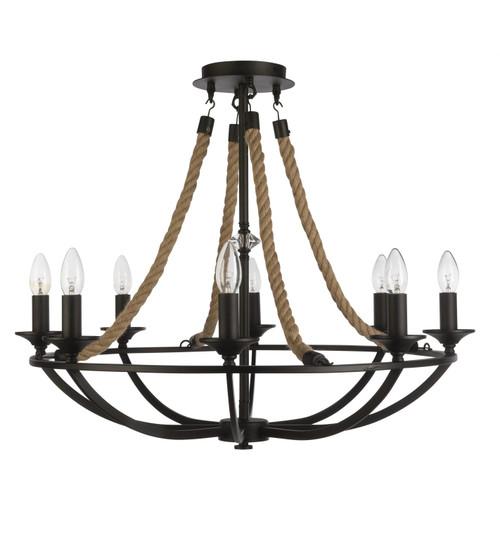 Hamilton 8 Light Black Rope Rustic CTC/Pendant Light