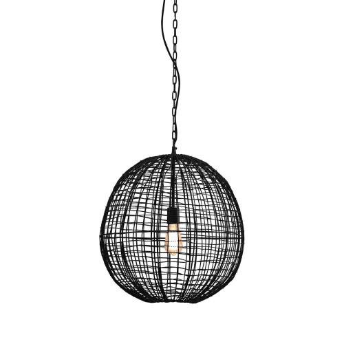 Cari 1 Light Round Ball Black Woven Wire Pendant Light - Large
