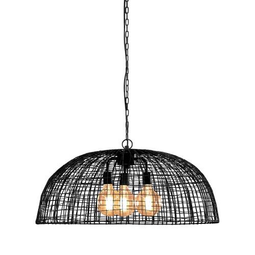 Cari 3 Light Dome Black Woven Wire Pendant Light