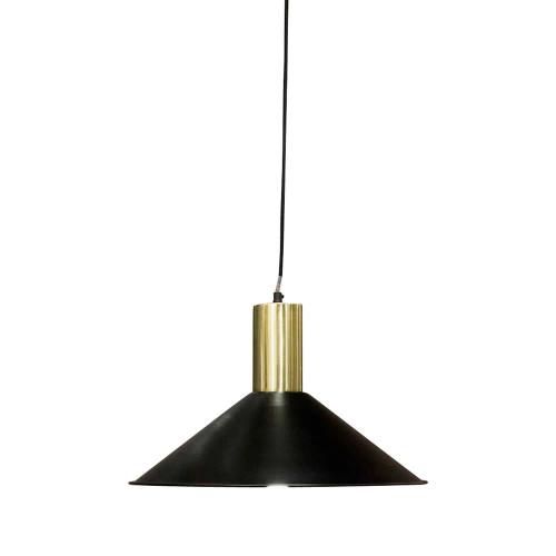 Rafael Wide Cone Black with Brass Top Metal Pendant Light
