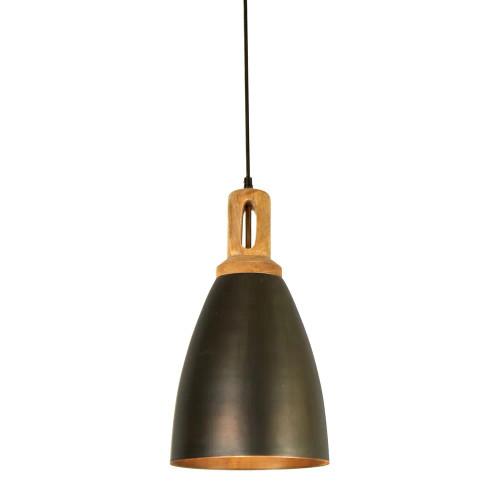 Lukas Tall Cone Black Wooden Top Pendant Light