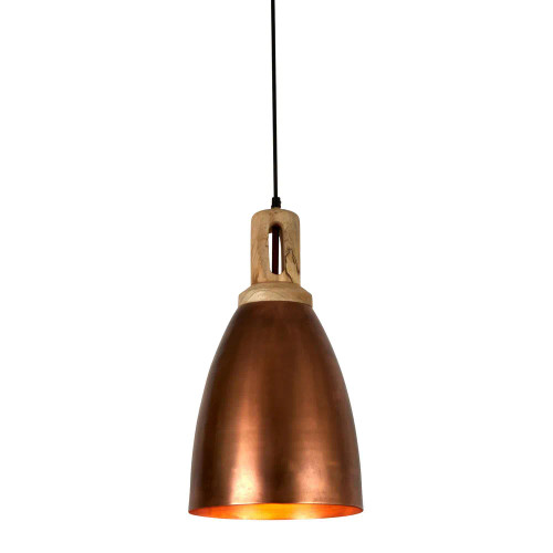 Lukas Tall Cone Antique Copper Wooden Top Pendant Light