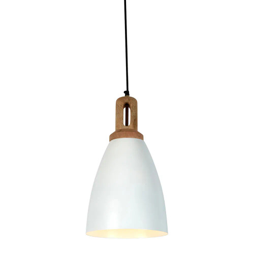 Lukas Tall Cone White Wooden Top Pendant Light