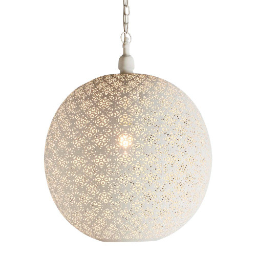 Courtney Round Ball White Perforated Moroccan Pendant Light