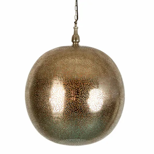 Suraya Round Ball Nickel Perforated Moroccan Pendant Light