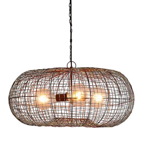 Loris Ellipse Antique Copper Woven Wire Metal Pendant Light