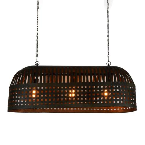 Eshan Long Antique Black Woven Metal Rustic Linear Pendant Light