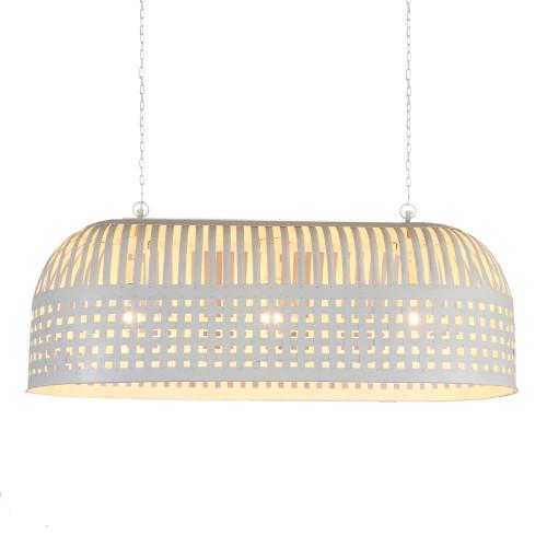 Eshan Long White Woven Metal Rustic Linear Pendant Light
