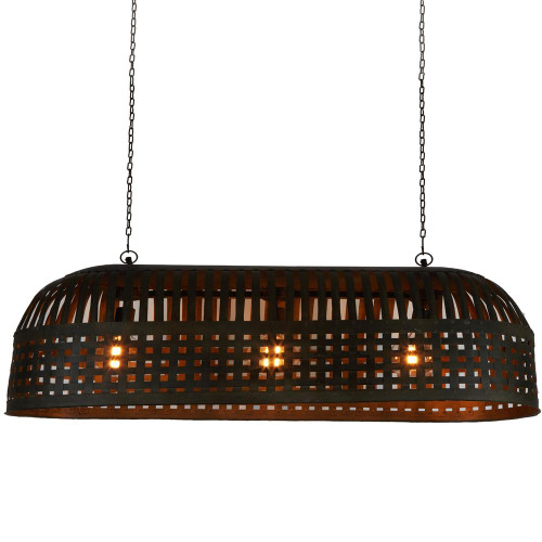 Eshan Extra Long Antique Black Woven Metal Rustic Linear Pendant Light