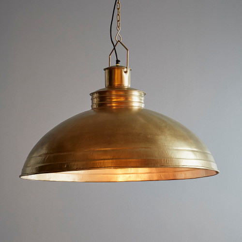 Sullivan Large Dome Brass Iron Industrial Pendant Light-1