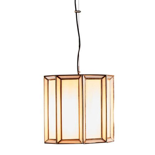 Dalton Drum Brass Glass Lantern Pendant Light