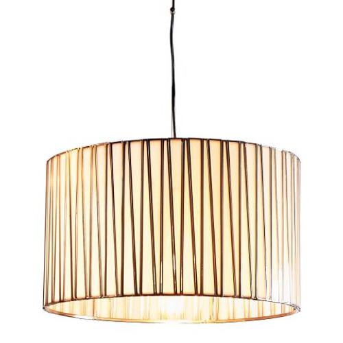 Cassandra Wide Drum Brass Glass Lantern Pendant Light