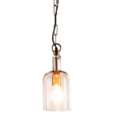 Howard Bell Antique Brass Clear Glass Pendant Light