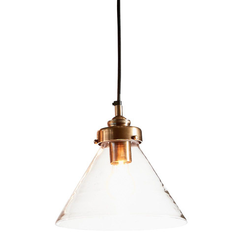 Howard Cone Antique Brass Clear Glass Pendant Light