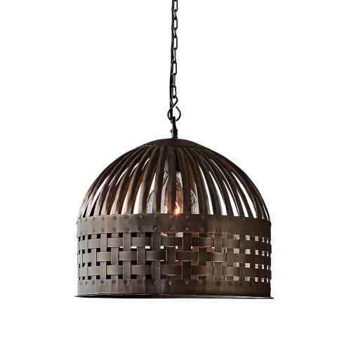 Eshan Small Dome Antique Black Woven Metal Rustic Pendant Light