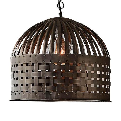 Eshan Medium Dome Antique Black Woven Metal Rustic Pendant Light