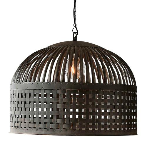 Eshan Large Dome Antique Black Woven Metal Rustic Pendant Light