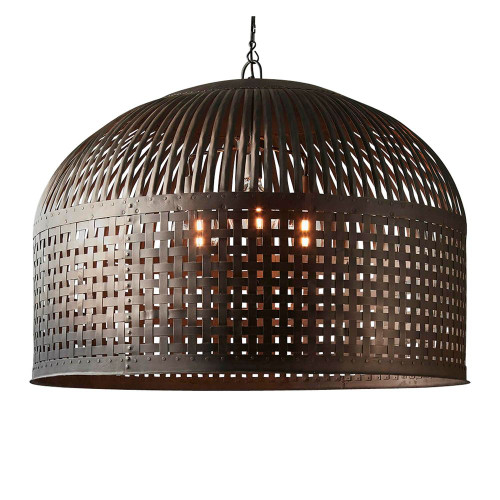 Eshan XL Dome Antique Black Woven Metal Rustic Pendant Light
