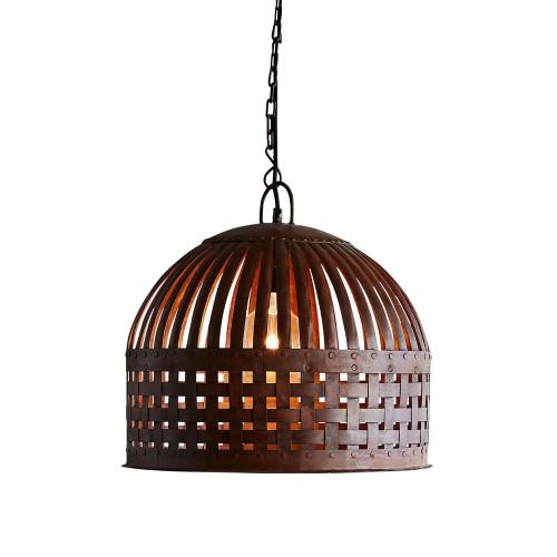Eshan Small Dome Rust Woven Metal Rustic Pendant Light