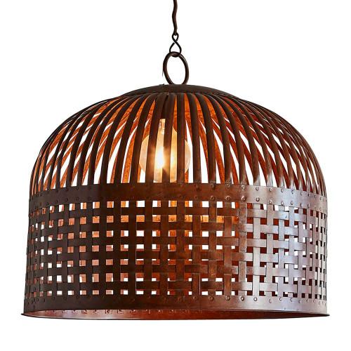 Eshan Large Dome Rust Woven Metal Rustic Pendant Light