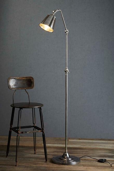 Stratham Antique Silver Adjustable Floor Lamp