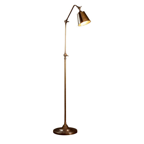 Stratham Antique Brass Adjustable Floor Lamp