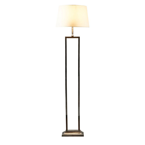 Derry Antique Silver with Ivory Linen Shade Classic Floor Lamp