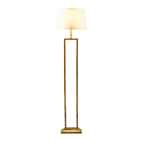 Derry Antique Brass with Ivory Linen Shade Classic Floor Lamp