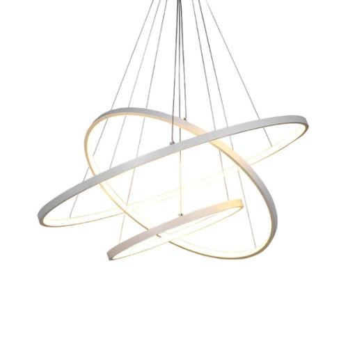 Planetary Rings Matt White LED Pendant Chandelier