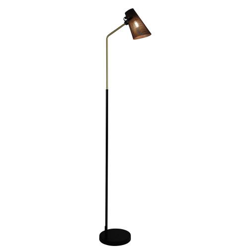 Percy Black Brass Scandi-Boho Floor Lamp