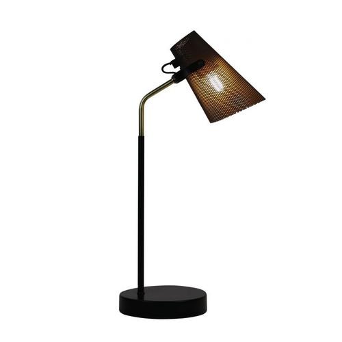Percy Black Brass Scandi-Boho Desk Lamp