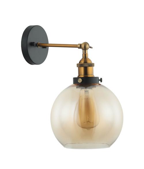 Branson Antique Brass Amber Wine Glass Wall Light