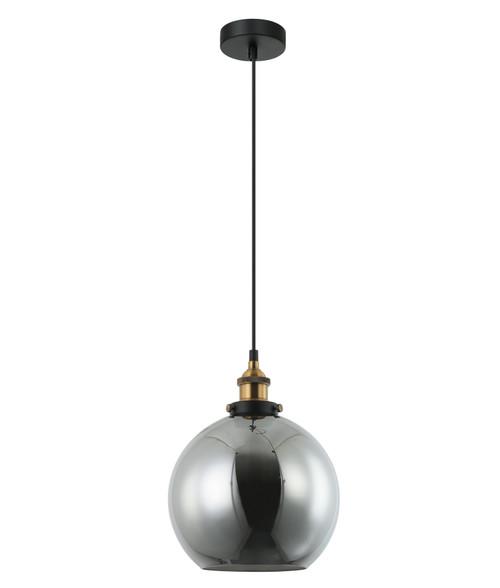 Branson Antique Brass Black Smoke Wine Glass Pendant Light