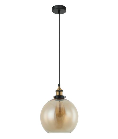 Branson Antique Brass Amber Wine Glass Pendant Light