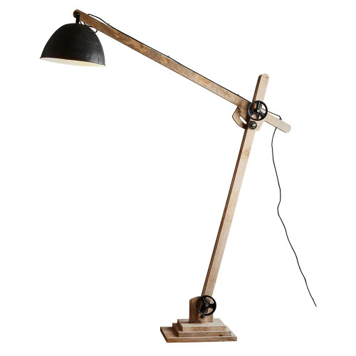Ark Timber Black Shade Articulated Floor Lamp