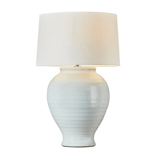 Middleton White Glazed Ribbed Ceramic Table Lamp