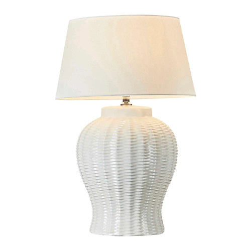 Draw Ivory White Glazed Ceramic Table Lamp