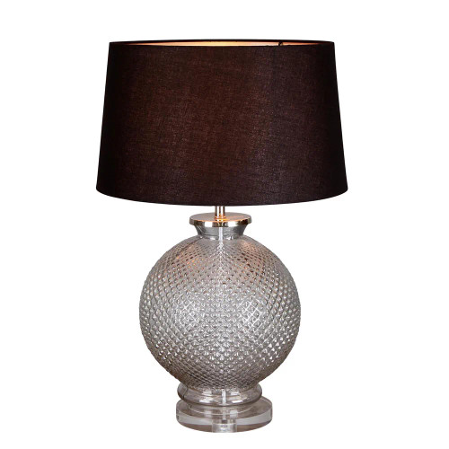 Monnet Round Glass Base with Black Linen Shade Table Lamp