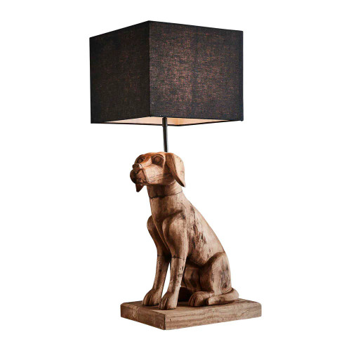 Sitting Dog Dark Natural Wooden with Black Shade Table Lamp