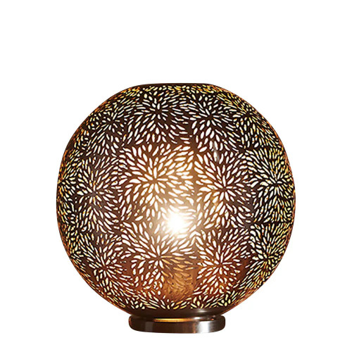Mirz Round Nickel Perforated Morrocan Table Lamp
