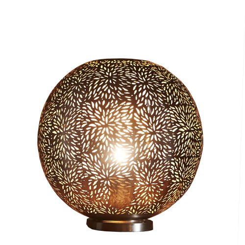 Mirz Round Brass Perforated Morrocan Table Lamp