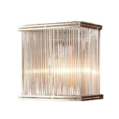Verra Rectangular Silver Glass Wall Light
