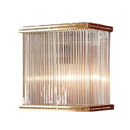 Verra Rectangular Brass Glass Wall Light