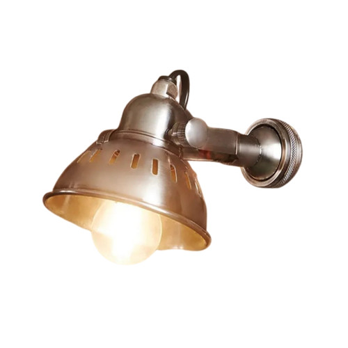 Brent Antique Silver Industrial Wall Light