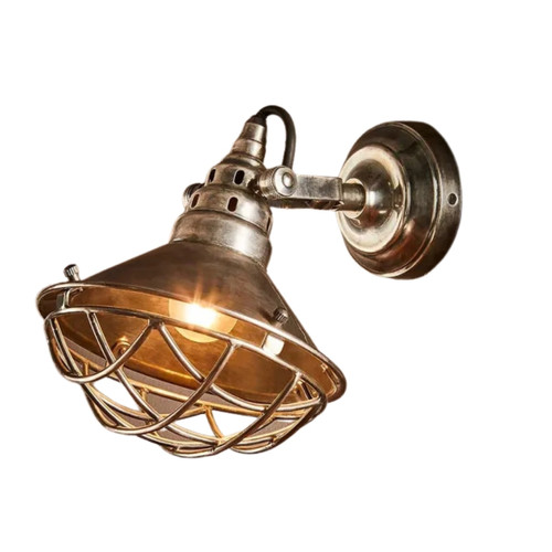 Chesterton Antique Silver Caged Industrial Wall Light