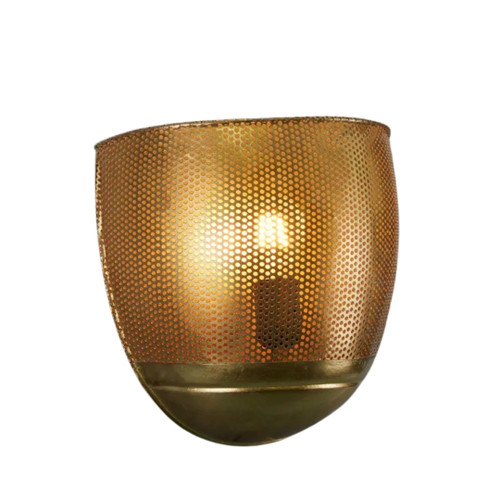 River Antique Brass Perforated Iron Wall Sconce