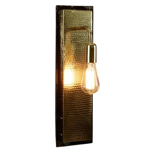 Rochdale Rectangular Gold Hammered Wall Light